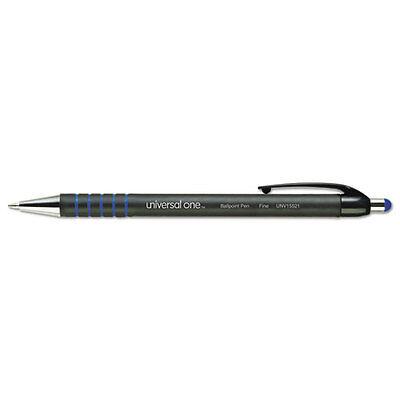 Universal Comfort Grip Retractable Ballpoint Pen Blue Ink Fine Point Dozen