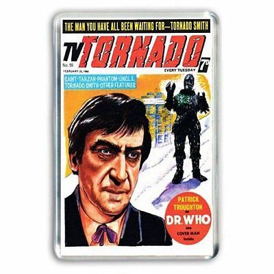 RETRO TV DOCTOR WHO -PATRICK TROUGHTON- TV TORNADO COMIC JUMBO FRIDGE MAGNET