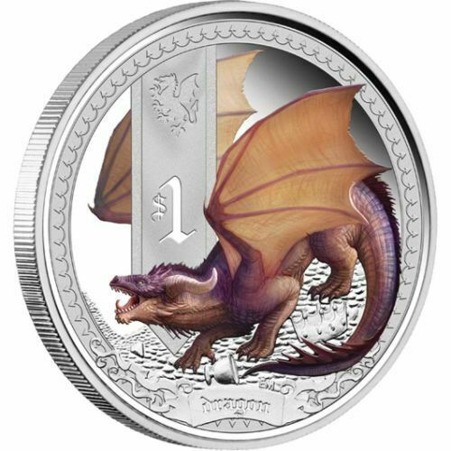 2014 Tuvalu Mythical Creatures 1oz Silver Proof Coin - Dragon