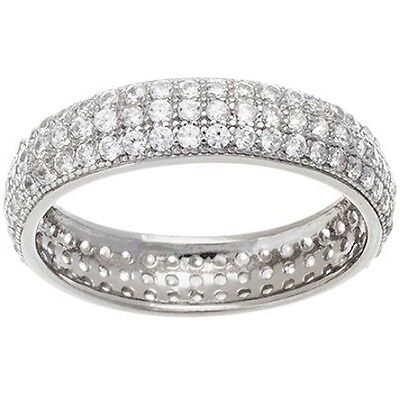14k Gold Vermeil Wedding Ring (NEW 14K WHITE GOLD VERMEIL Pave 3 Row Dome Shape Eternity Ring-Bridal-Band-925  )