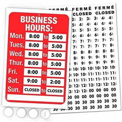 Open Signs Business Hours Sign Kit - Bright Red And White Colors - Includes 4