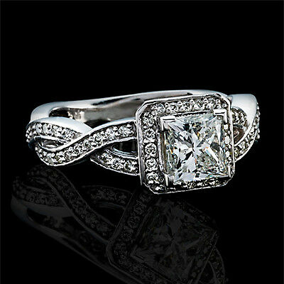1 CT Natural Diamond Engagement Ring Princess Cut D/VS2 14K White Gold Enhanced