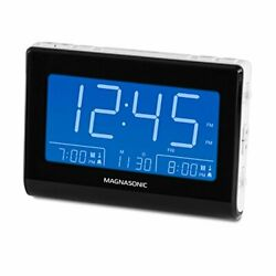 Magnasonic Alarm Clock Radio with USB Charging for Smartphones & Tablets, Auto D