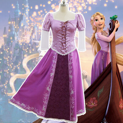 Adult Princess Rapunzel Dress Tangled Fairytale Halloween Cosplay Costume 2019
