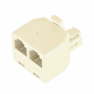 Phone Line 1 to 2 Dual Splitter Wall Jack Converter Adapter for Cordless Phone