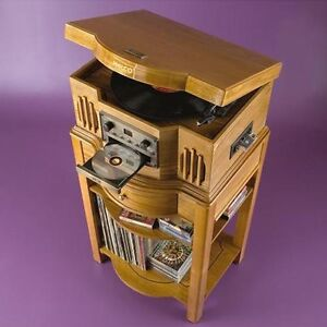 Philco Turntable/CD/Cassette Player with Hardwood Stand