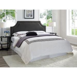 Langford Transitional Upholstered Headboard - Queen Black Brand