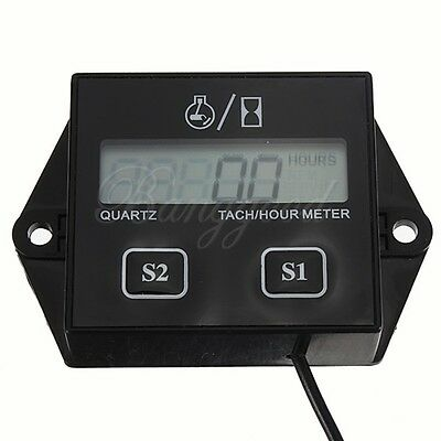 Digital Tach Hour Meter Tachometer Gauge Spark Plugs Gas Engine Motocycle ATV on Rummage