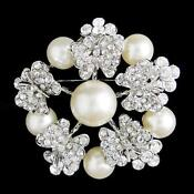 Clear Rhinestone Wedding Brooch