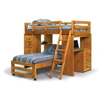 Bunk bed with desk and mattresses
