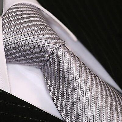 Krawatte Krawatten Schlips Binder de Luxe Tie cravate 221 silber grau gestreift Tie Krawatte Krawatten