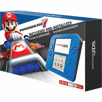 Nintendo 2Ds With Mario Kart 7  Electric Blue