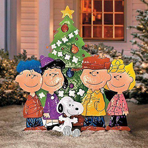 "36"" Peanuts Gang Around Tree Yard Art Outdoor Christmas Decor Hammered Metal"
