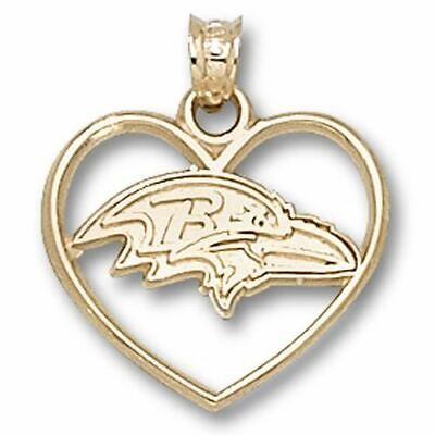 Baltimore Ravens Profile Logo Heart 14 kt Gold Pendant Profile Logo Heart Pendant
