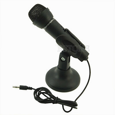Black 3.5mm Mini Studio Speech Mic Microphone with Desktop Stand For PC Computer