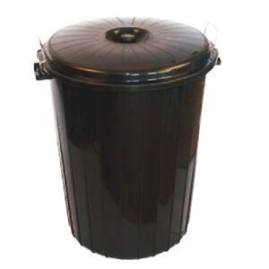 Large 70L BLACK Plastic Bin Indoor Outdoor Garden Rubbish Dustbin Locking Lid