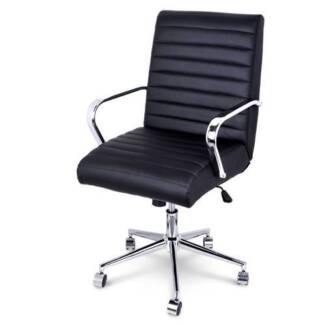 PU Leather Office Chair Home Computer Desk Lounge Black