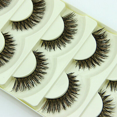 pairs handmade long false eyelashes makeup natural fake thick big eye lashes