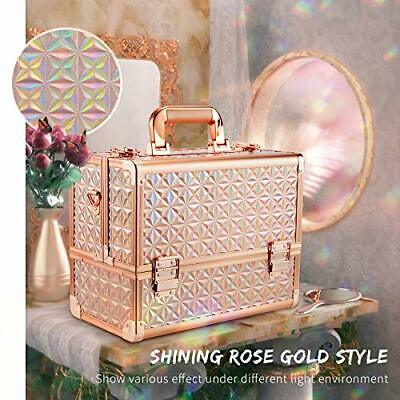 Makeup Train Case 12 Inch Large Portable Cosmetic Case - 6 Tier Rose Gold - $68.99