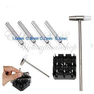 Watch-Repair-tool-Kit-Watch-band-holder-Strap-Link-Pin-Punch-Remover-Hammer