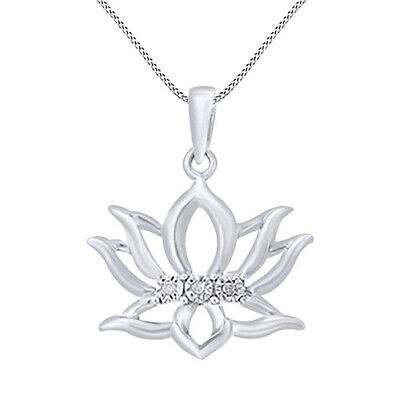 Image of 0 01 Cttw Round Diamond Lotus Flower Pendant Necklace 14K Gold Over