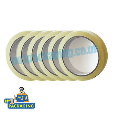 12 Rolls Of Sticky Tape 24mm x 66m (1 inch Wide) Clear Parcel Packing Packaging