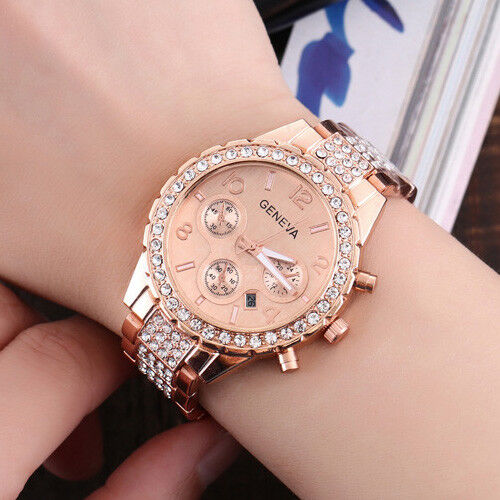 New Fashion Bracelet Wrist Watch for Woman Ladies Silver Ros