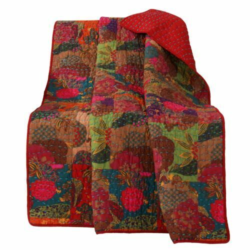 Greenland Home Fashions Jewel Quilted Throw Floral Red Throw