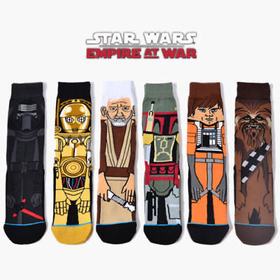 US 6 Pairs Mens Cotton Novelty Cartoon Star Wars Warm Crew Skateboard Long Socks
