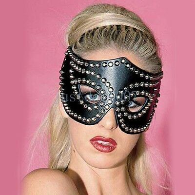 Sexy Women Leather Halloween Masquerade Eye face Masks- Studded Fox Cat party ()