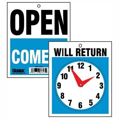 U.s. Stamp Sign Will Return Sign With Clock Hand - Open Come In Will