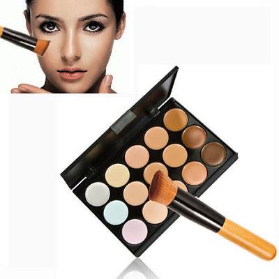 New 15 Colors Contour Face Cream Makeup Concealer Palette + Powder Brush Set US