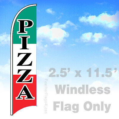 Pizza - Windless Swooper Feather Flag 2.5x11.5 Banner Sign - Wb