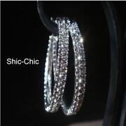 Silver Diamante Hoop Earrings