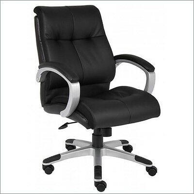 Lot Of 10 Black Leather Mid Back Conference Room Office Chairs