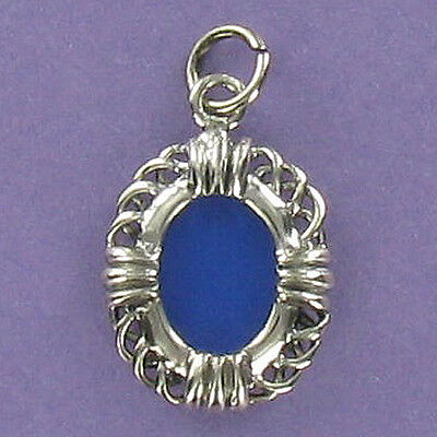 Oval Photo Frame Charm Sterling Silver for Bracelet Filigree Edge Picture ()
