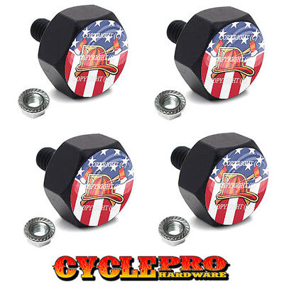 4 Black Billet Hex License Plate Frame Tag Bolts FIRE DEPT USA FLAG - 118