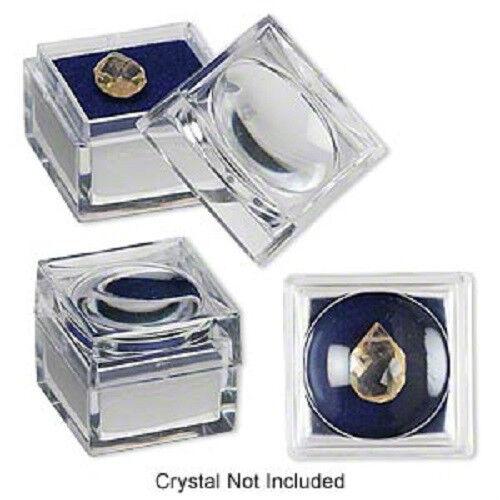6 Dark Blue Foam jars- 1x1x7/8-inch Magnifying 2x gem/bug jar or box