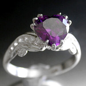 SILVER-HEART-CUT-simulated-AMETHYST-DIAMOND-Ring