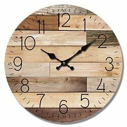 Natural Wood Wall Watch Planks Look 13 Round Decor Clock, Housewarming