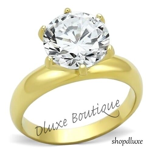 3.90 Ct Round Cut 14k Gold Plated CZ Solitaire Engagement Ring Women