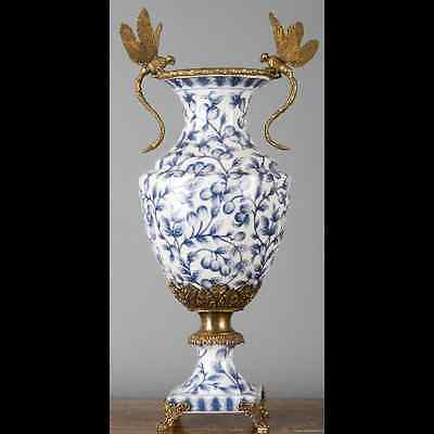 NEW PORCELAIN AND BRONZE ORMOLU BLUE AND WHITE VASE with figural dragonflies