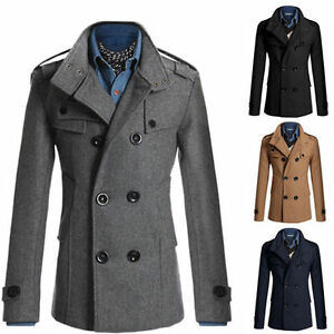 New-Mens-Parka-Peacoat-Trench-Coat-Winter-Jacket-Wool-Pea-Coats-Size-XS-S-M-L-XL