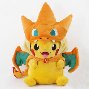 New Pokemon Pikachu With Charizard hat Plush Soft Toy Stuffed Animal Doll 9''