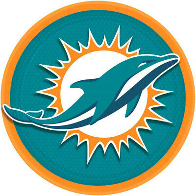 NFL MIAMI DOLPHINS LARGE PAPER PLATES (8) ~ Birthday Party Supplies Dinner - Party Supplies Miami