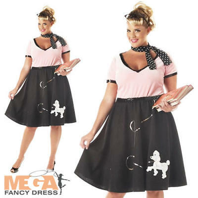 1950s Sweetheart Ladies Fancy Dress Adult Womens Plus Size Costume Adult - 1950 Fancy Dress Kostüm