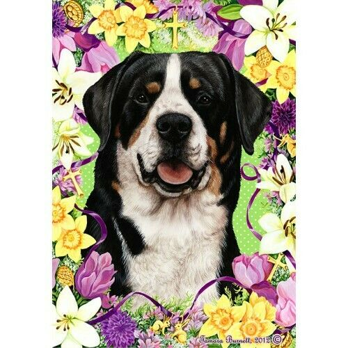 Easter House Flag - Greater Swiss Mountain Dog 33144