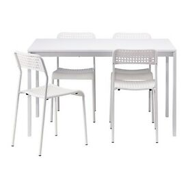 IKEA Melltorp table 3 months of use plus 4 ADDE chairs, come with instructions and warranty