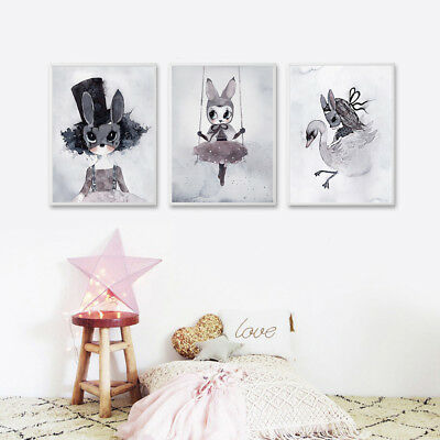 Nursery Cartoon Canvas Art Prints Poster Kawaii Picture Children Room Decoration