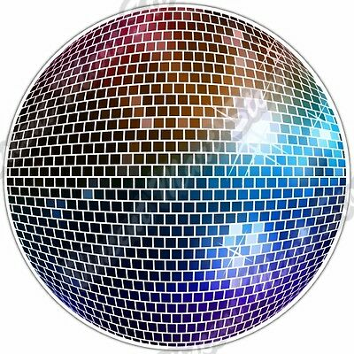 Mirrored Disco Ball Party Dancing Night Life Car Bumper Vinyl Sticker Decal - Disco Ball Stickers